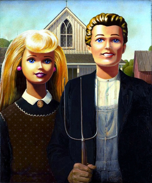 American Gothic Barbie and Ken